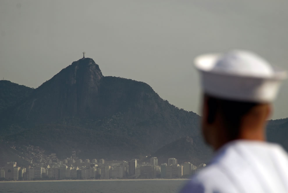 Sailor studying Christ the Redeemer in Rio De Janeiro