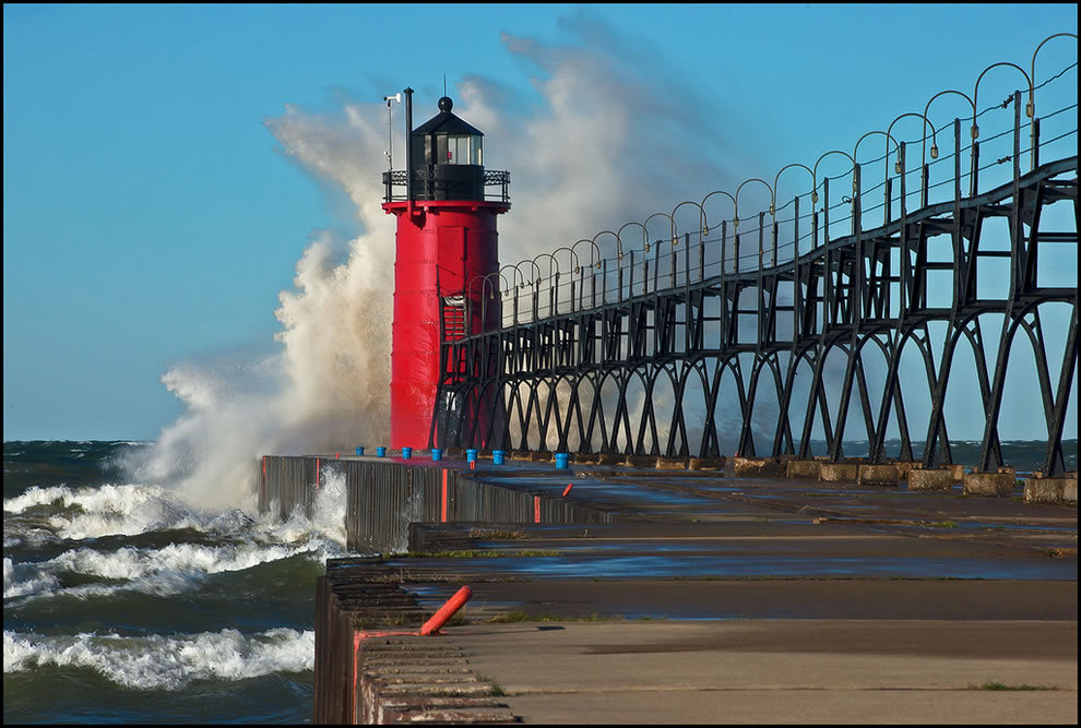South Haven Pier 16 to 20 foot waves