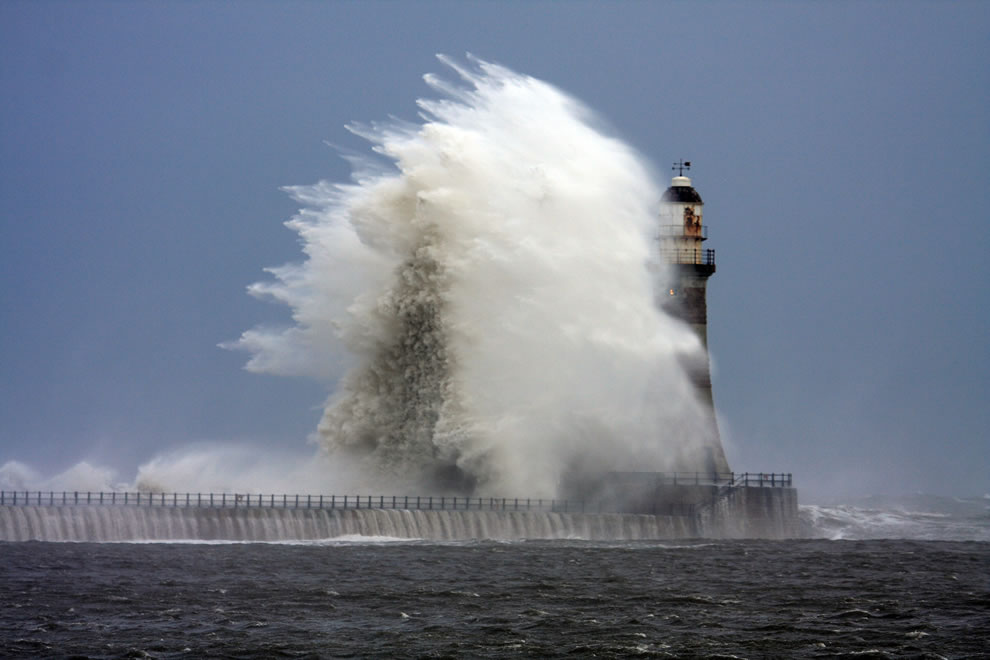 Stormy weather and rough seas at Roker Lighthouse © Gail Johnson