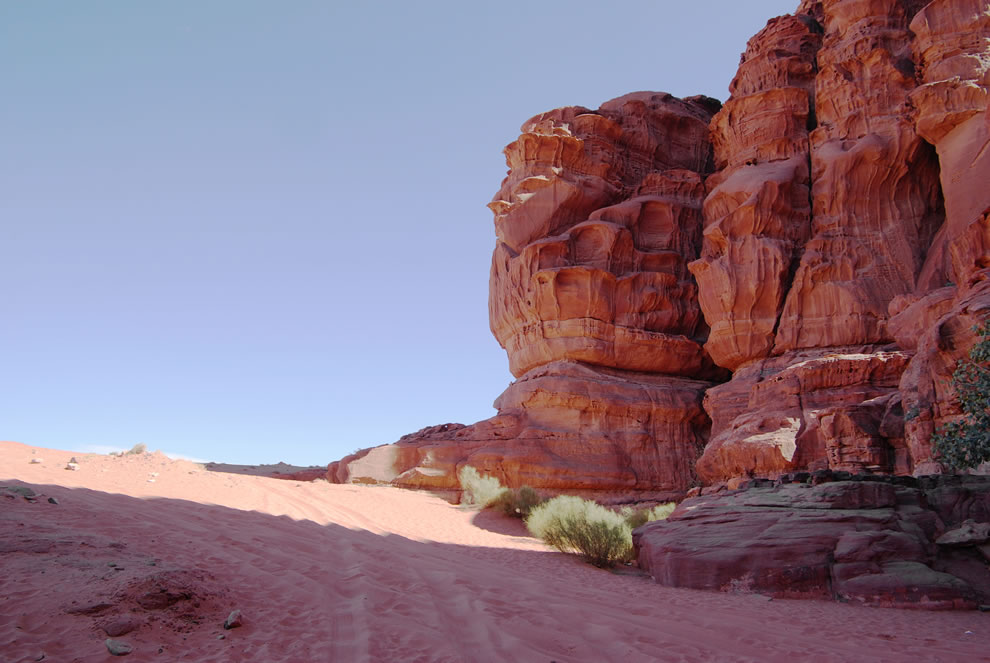 blessed shade in the desert Wadi Rum, Jebel Khazali