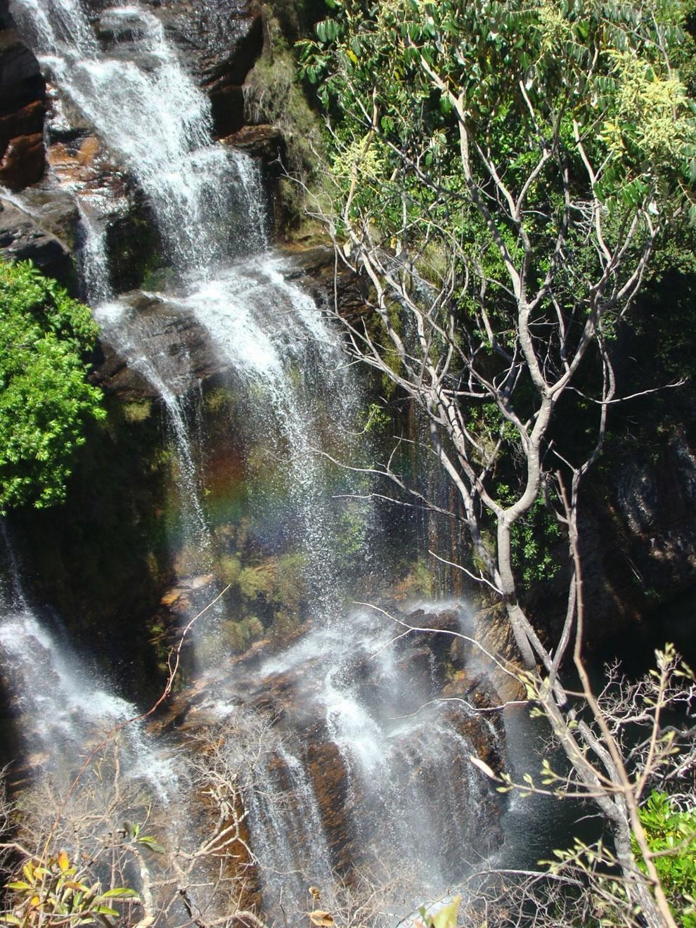 rainbow and waterfall at Chapada dos Veadeiros National Park