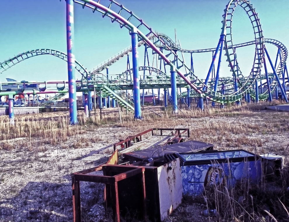 Katrina Killed the Coaster at Abandoned Six Flags amusement park in New Orleans