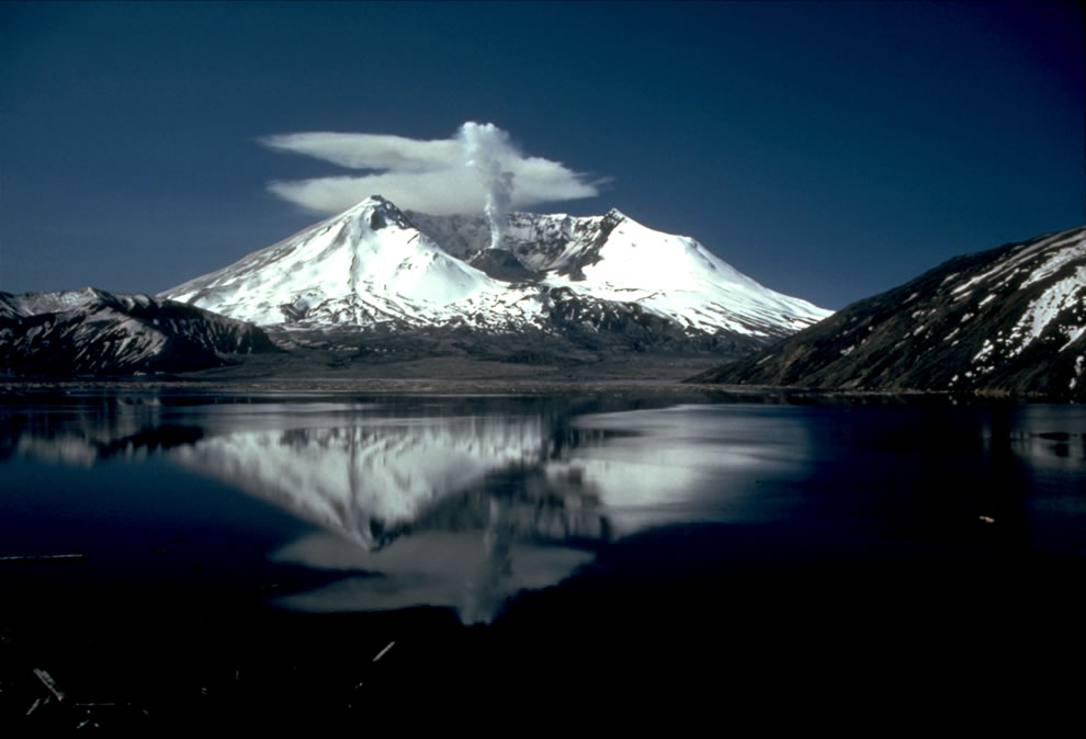 Mt St Helens erupting with spirit lake reflection 05-19-82