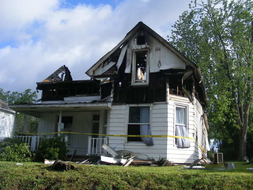 tree fell over, then house caught fire, burnt down during storm