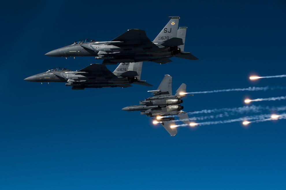 A U.S. Air Force F-15E Strike Eagle aircraft with the 335th Fighter Squadron releases flares
