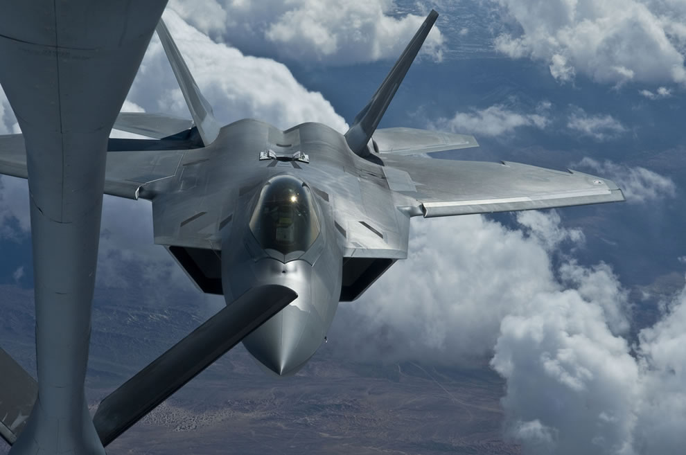 A U.S. Air Force F-22 Raptor aircraft with the 49th Fighter Wing, Holloman Air Force Base, N.M., pulls up for air refueling