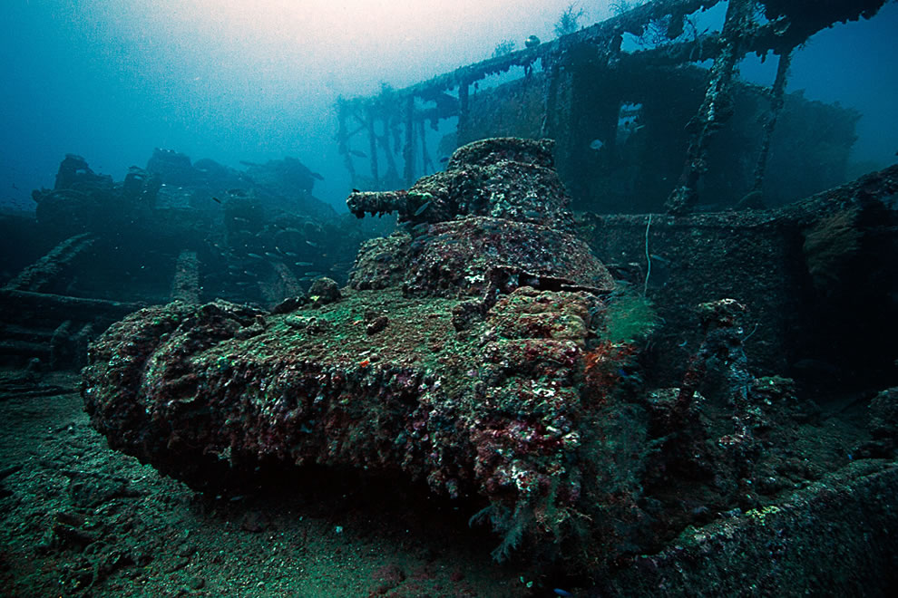 A light tank on the deck of the San Francisco Maru at about 50m depth in Truk Lagoon