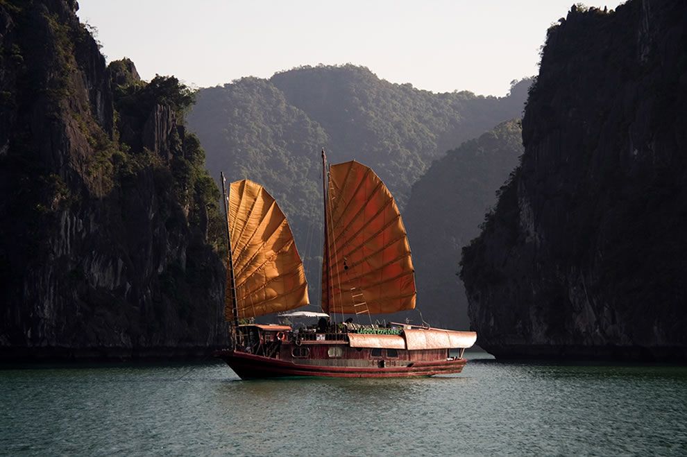 Chinese Junk in Flight - Ha Long Bay - Vietnam