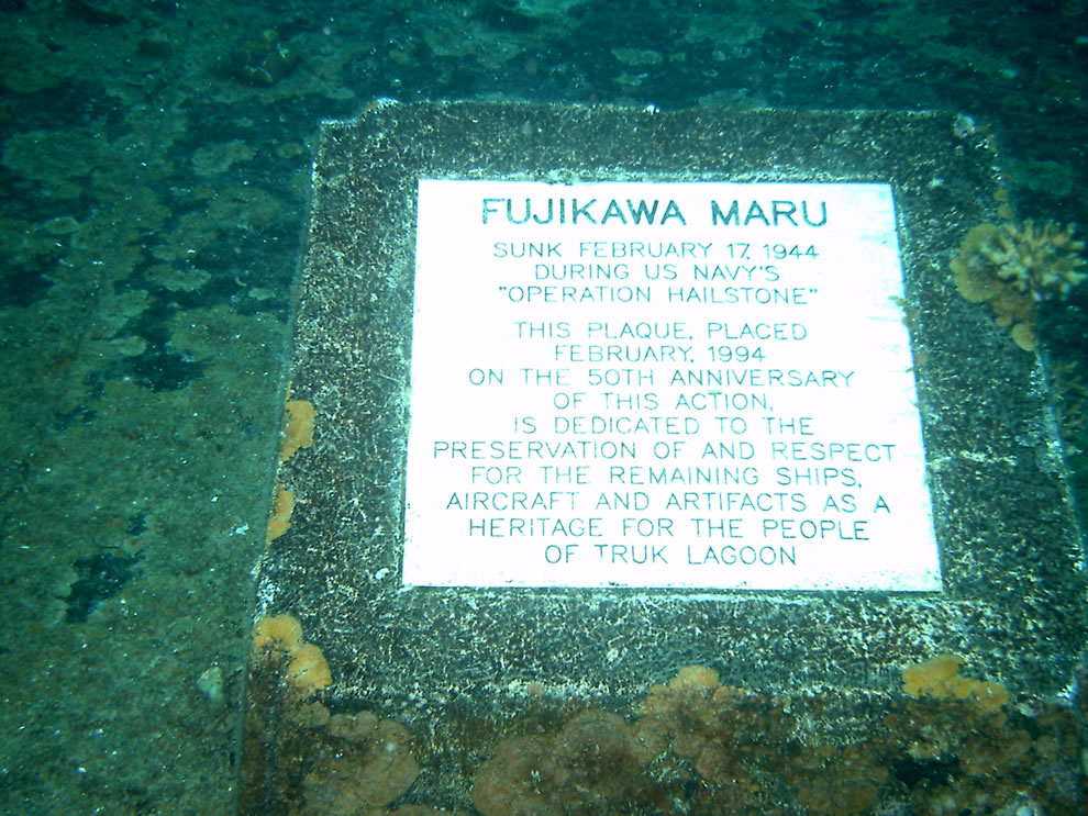 Commemorative plaque on the deck of the Fujikawa Maru in Truk Lagoon