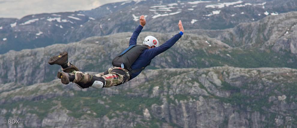 Falling at Kjerag, Norway BASE jumper