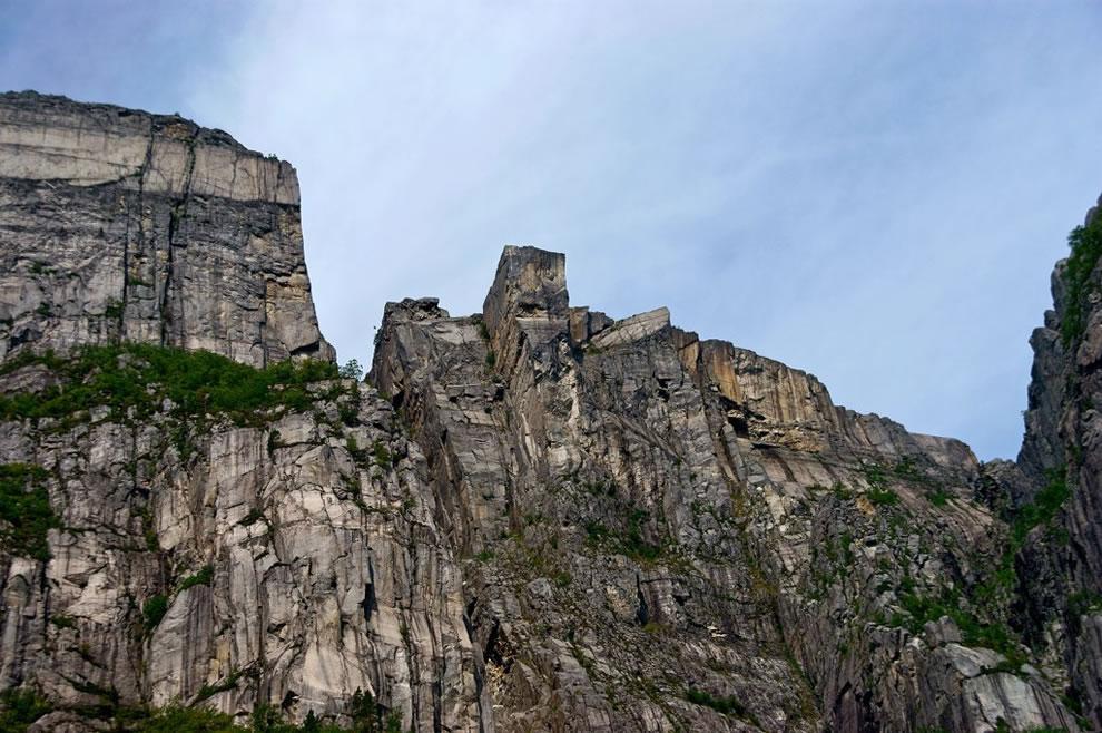 Looking up at Pulpit Rock - Preikestolen - Norway cliff