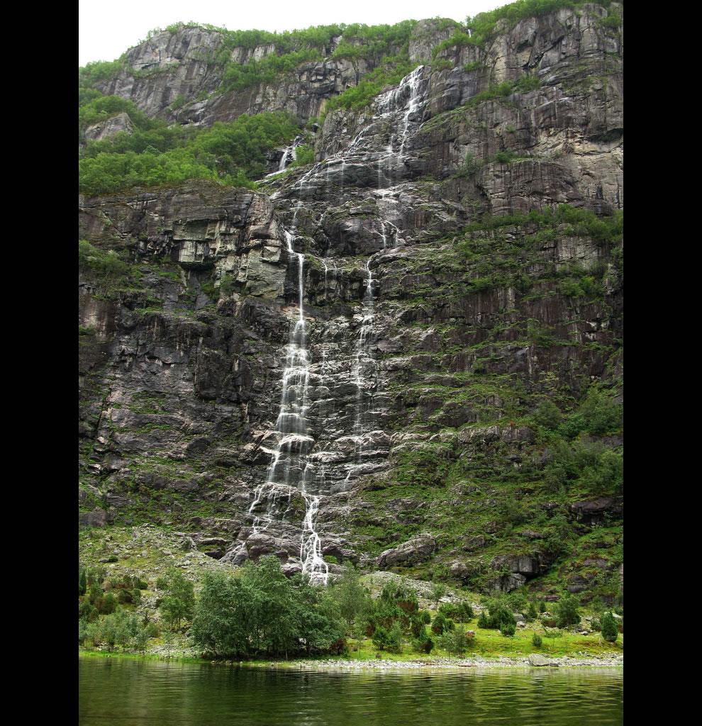 Lysebotn, Norway, Looking up at waterfall near Kjerag