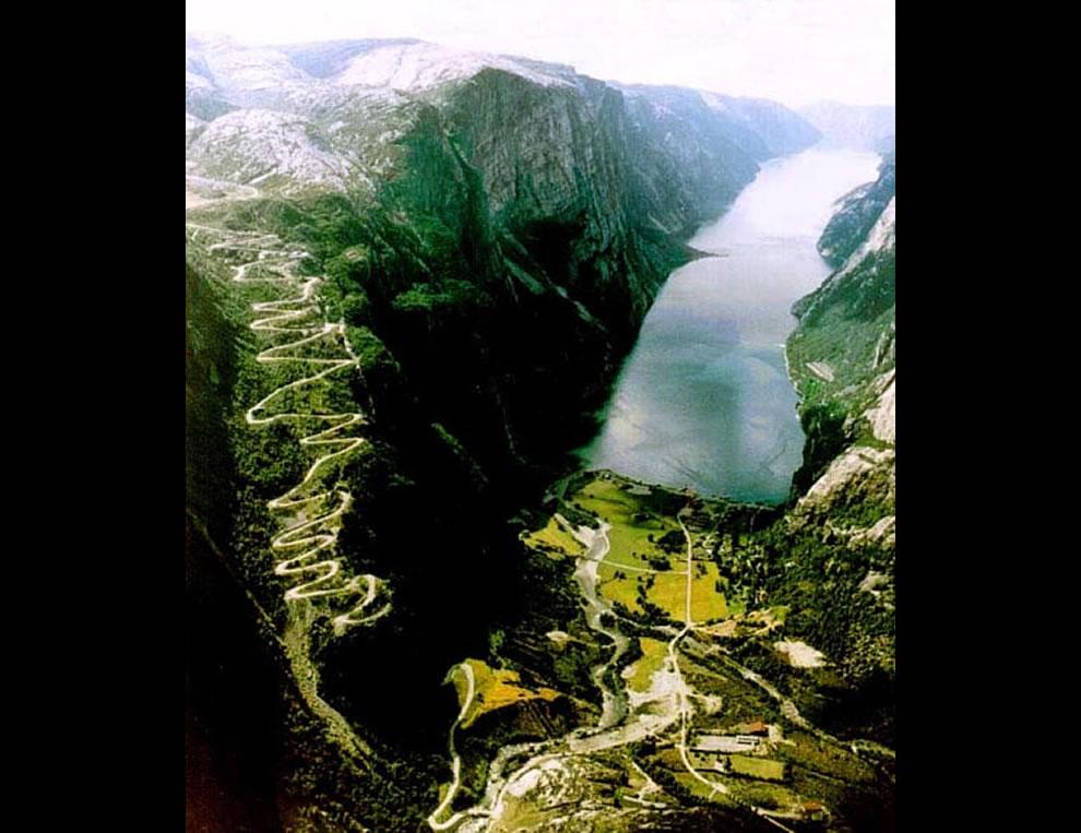 Lysebotn Road in Lysefjord, Norway