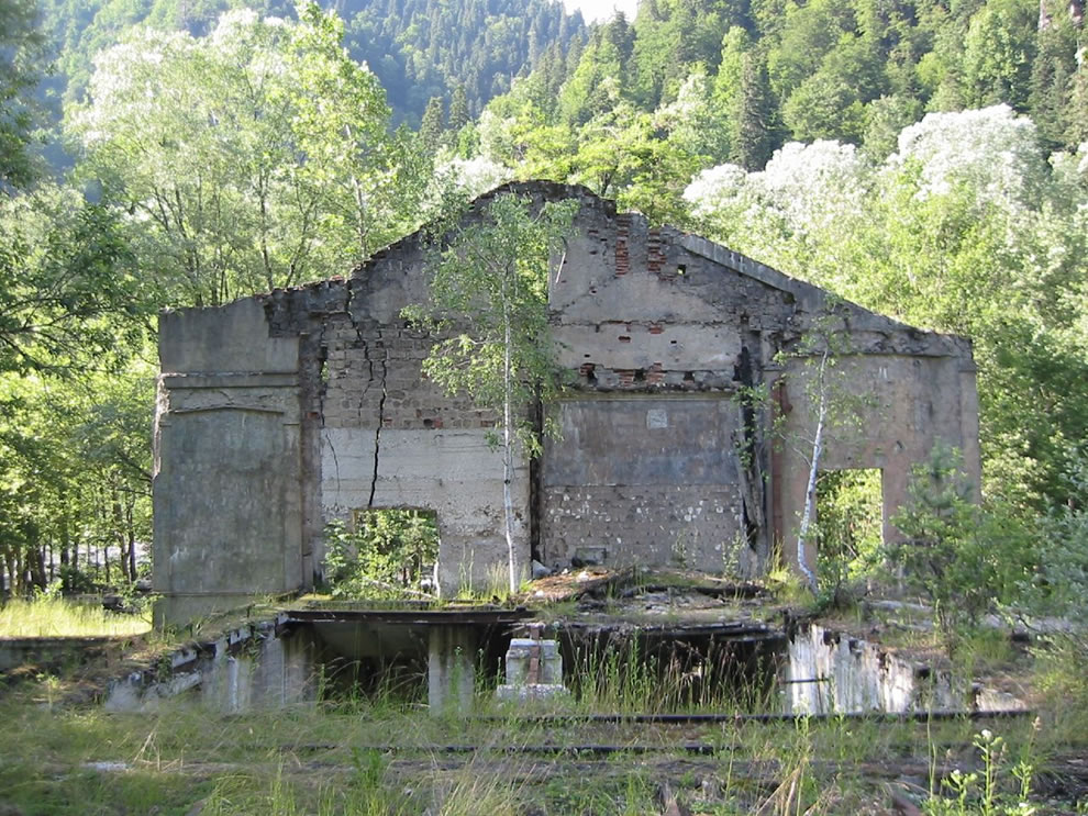 Ruins of Stalin's summer-house by the lake Ritsa