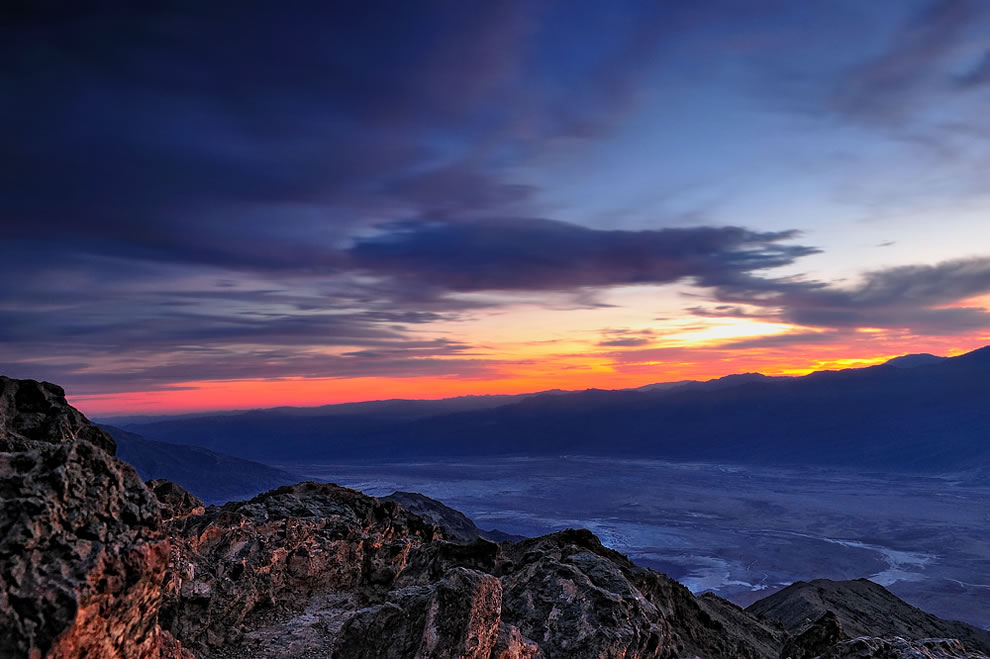 Sunset over Dante's View and Badwater Basin, Death Valley National Park