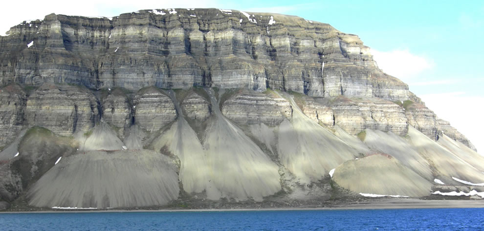 Talus cones on the north shore of Ifjorden, Svalbard, Norway