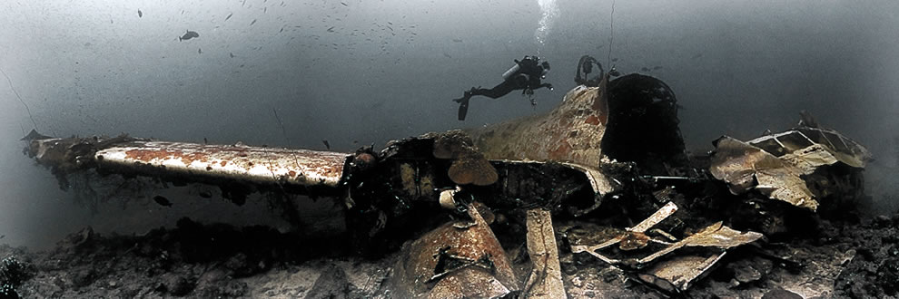 The Betty Mitsubishi Attack bomber. Truk lagoon - 20m deep