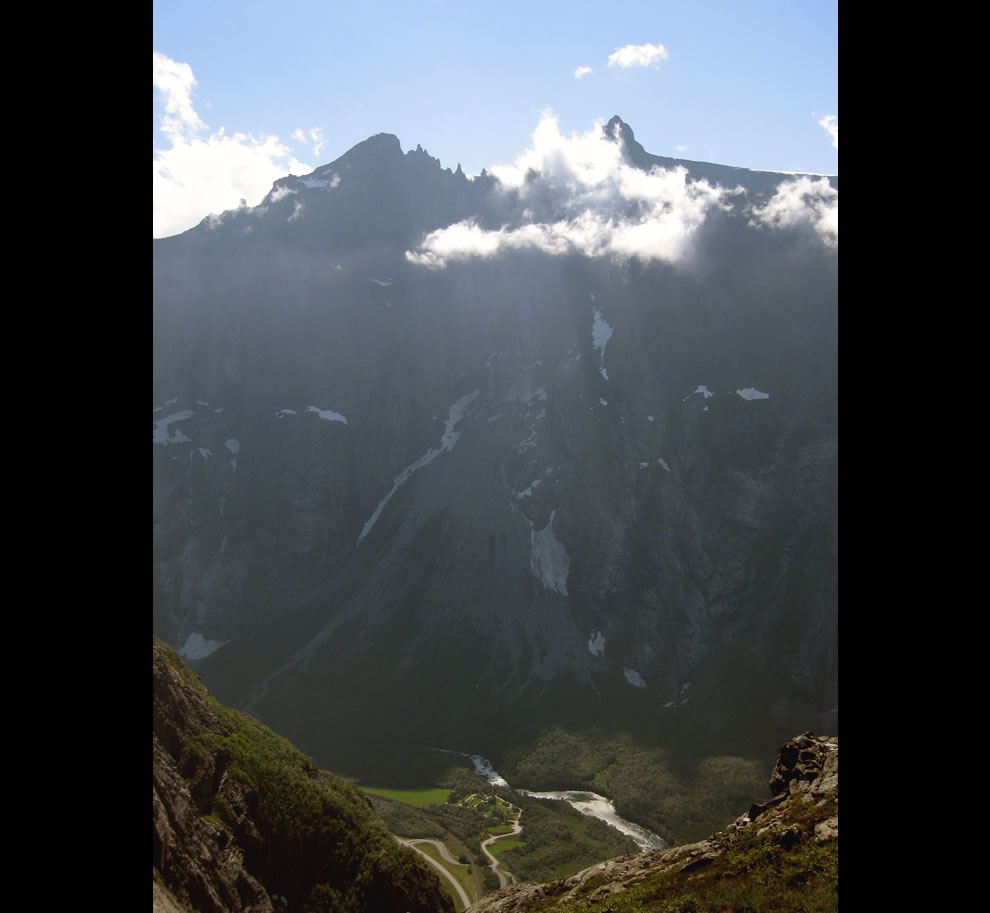 Troll Wall in shadow  - norway BASE jumping location