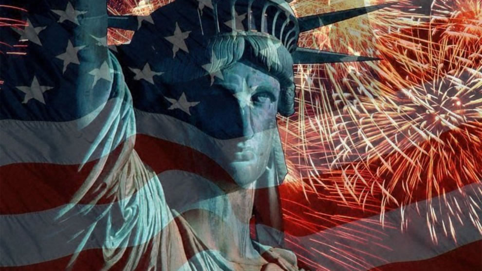 lady liberty - fireworks, flag