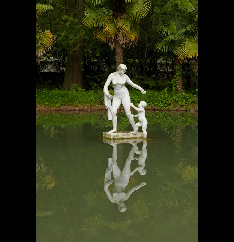 overgrown ponds, fountains, sleepy statues