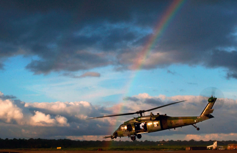 Rainbow and USA military helicopter