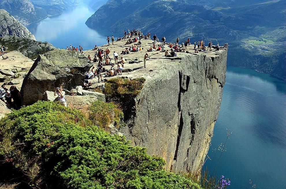 Pulpit Rock or Preikestolen (Prekestolen) in Norwegian is one of Norway's big tourist attractions