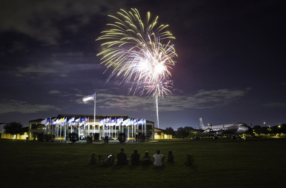American evening under the stars and fireworks at Lackland AFB