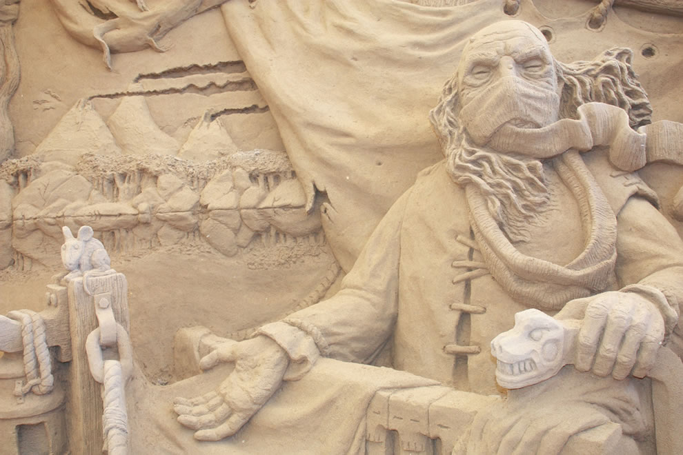 Charon the ferryman close up - Dante's Inferno sand sculpture
