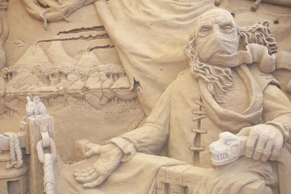 Charon the ferryman close up - Dante's Inferno sand sculpture