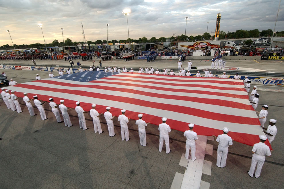 Happy Birthday USA - flag unfurling during pre-race ceremonies Milwaukee Mile racetrack