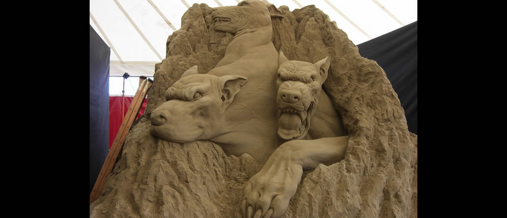 Hounds of Hell sand sculptures Circle 3 The Cerebrus