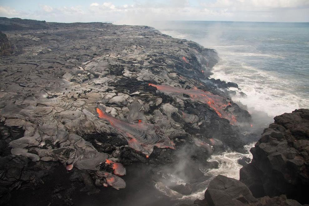 Kilauea lava meets ocean