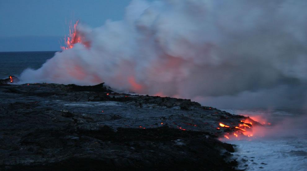 Lava entering sea in Hawaii