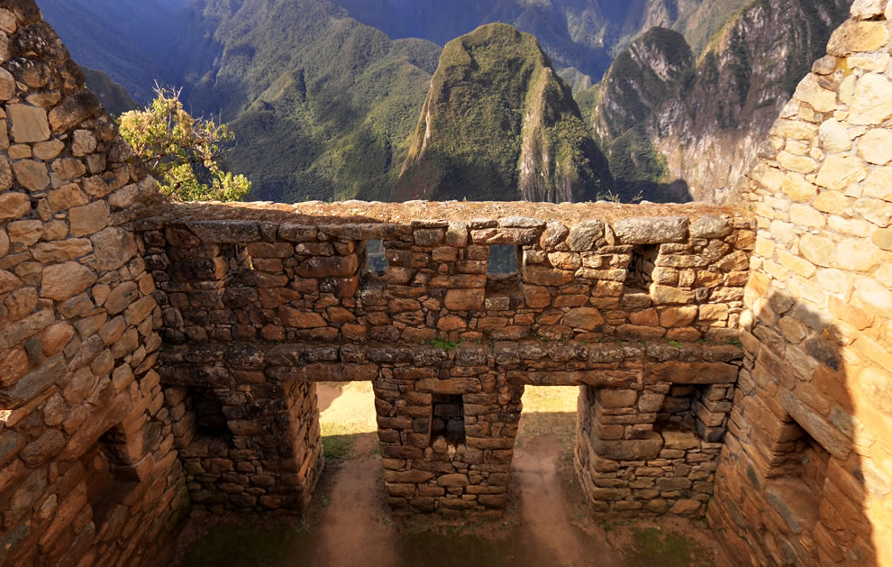 Partially restored Inca building in Machu Picchu