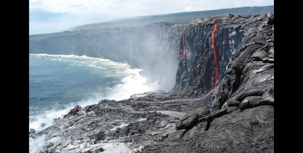 Spectacular lava drapery and falls at new Kamoamoa entry