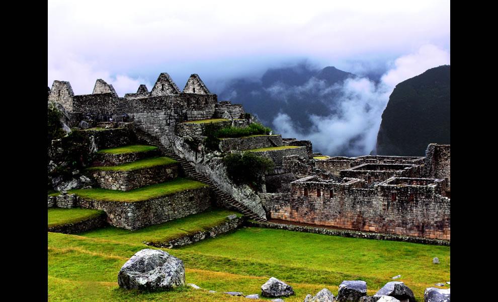 Stairs at Machu Picchu Peru