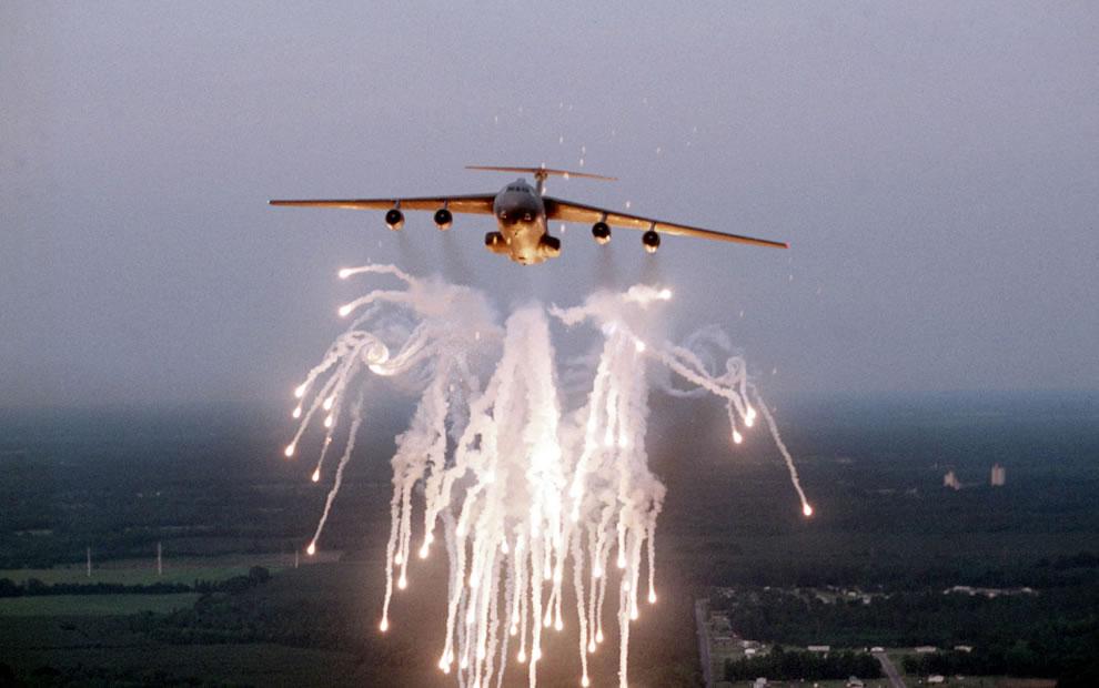 USAF C-141B Starlifter Fireworks display