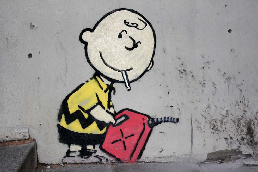 Charlie Burn Brown by Banksy