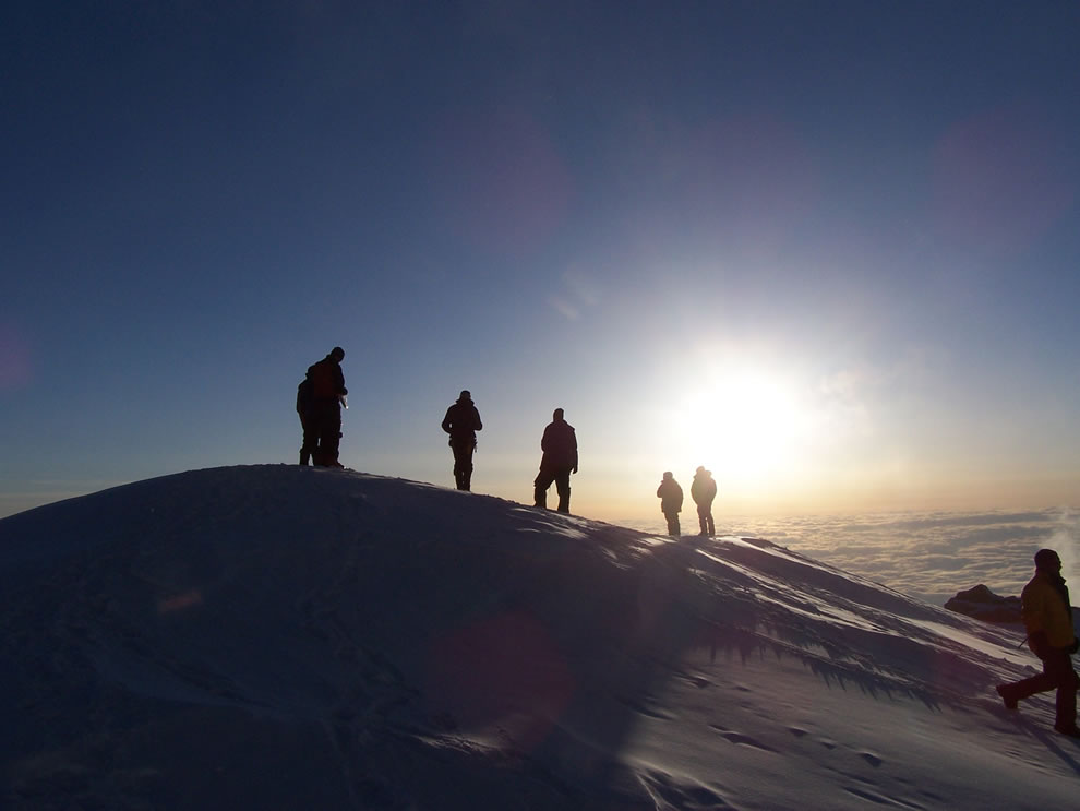 Climbers on Mt McKinley take in the view from above