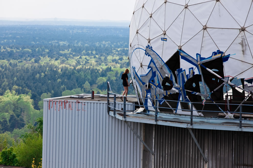 "Considering the climbing it takes to get to Teufelsberg former NSA listening post, I agree with the photographer who called this ""Inappropriate attire."""