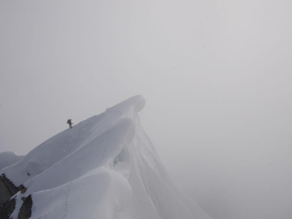 Cornice Crossing - Moving up the Southwest Ridge of Peak 11,300 - Denali