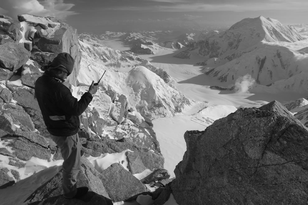 Denali National Park - A mountaineering ranger at high camp performs duties