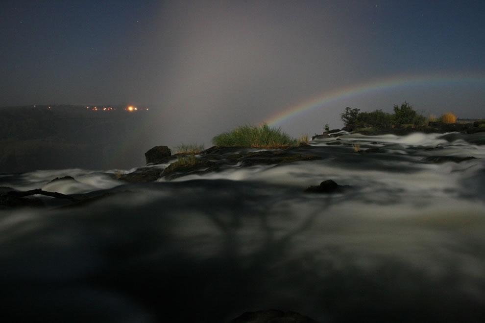 Lunar rainbow over Victoria Falls