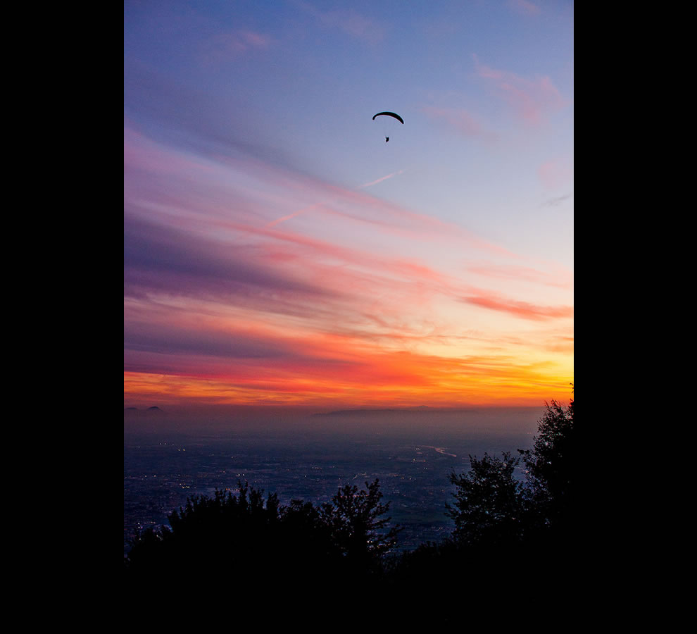 Monte Grappa Italy Sunset Paragliders