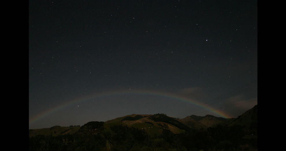 Moonbow and starry night
