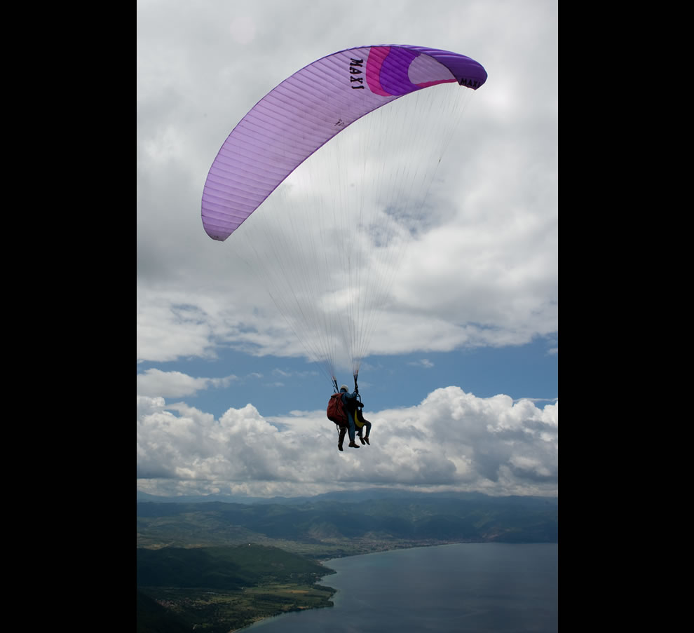 Paragliding in Europe over Lake Ohrid, Macedonia