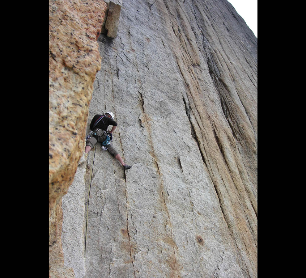 Rock climbing in the Ruth Gorge