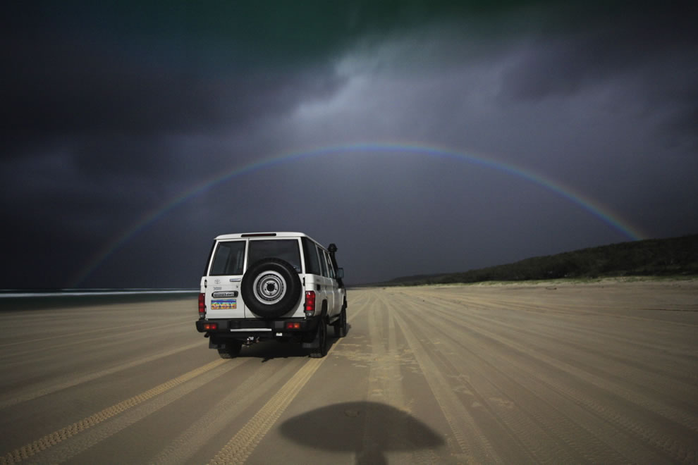 Lunar rainbow, moonbow formed over Fraser Island