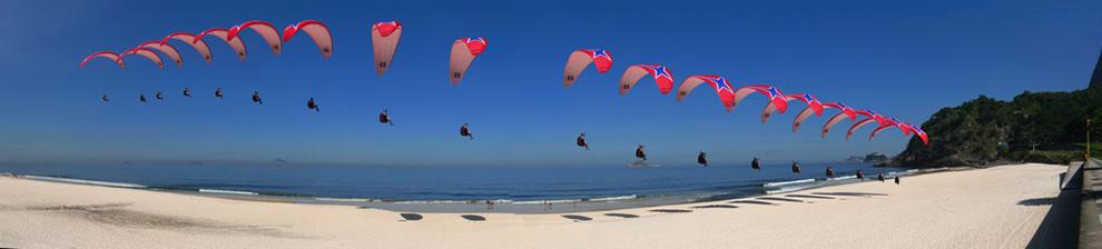 paragliding land on rio beach