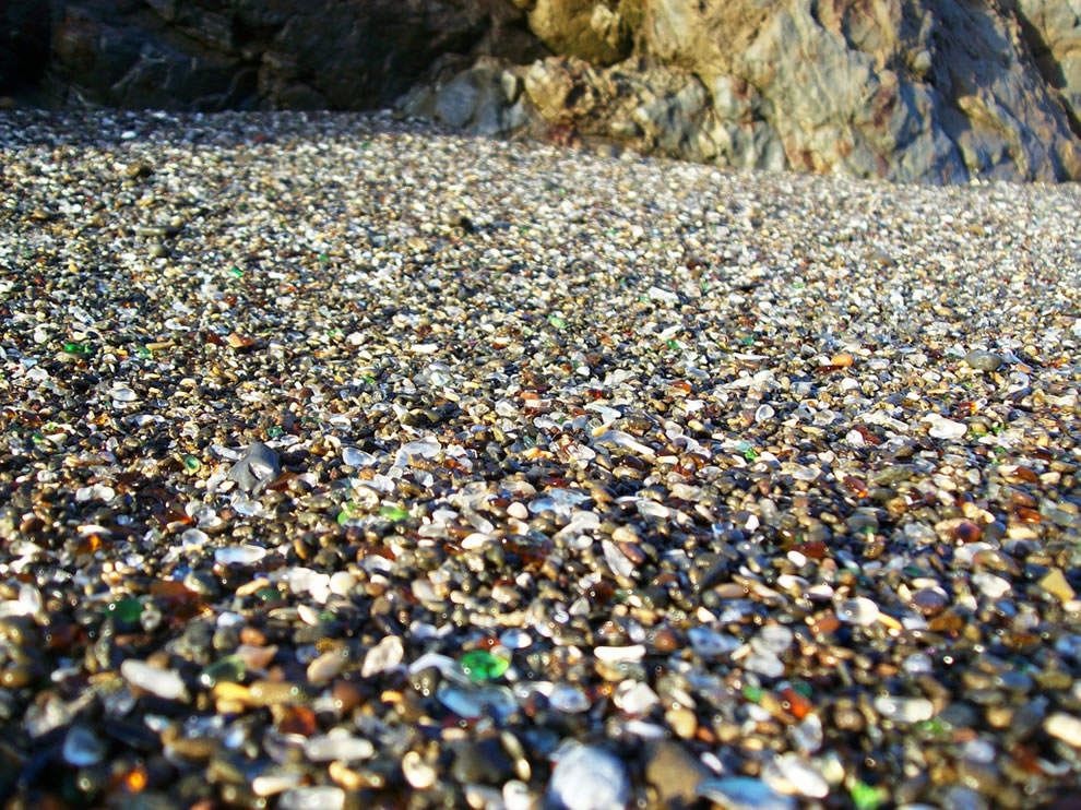 Close-up of the glass beads mixed in the gravel at Glass Beach outside Fort Bragg, CA